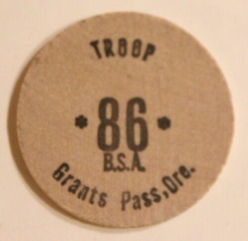 Vintage Troop 86 Wooden Nickel Grants Pass Oregon