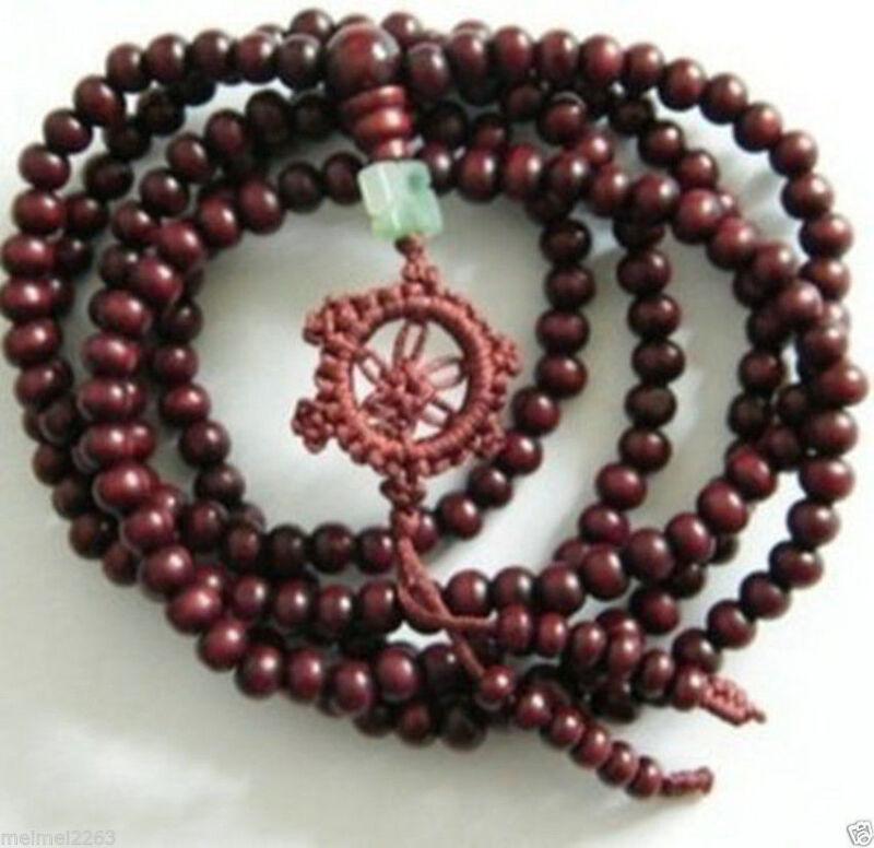 Tibetan Sandalwood brown meditation beads Buddha Mala Buddhist bracelet necklace