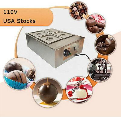 1 Pc Chocolate Melter 4 Pan Chocolatebutter Tempering Machine 1.5lx4 Capacity