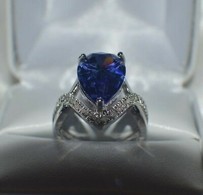 - GLAMOROUS 8 CARAT  PREMIUM AAAA TANZANITE & 40 VVS DIAMOND COCKTAIL RING  SIZE 8