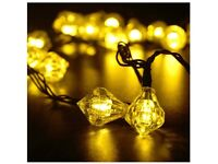 30 LED Solar Powered Outdoor Diamond Garden / Christmas String Lights - Brand New & Boxed