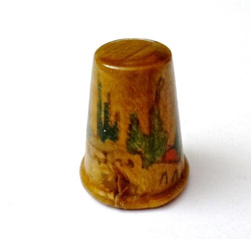 Jerusalem Wood Thimble, Scenic Hand Painted, Vintage Souvenir