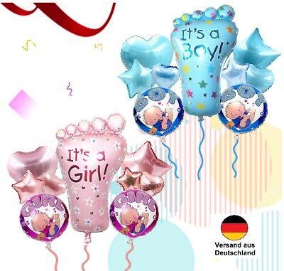 Baby Boy Ballon (9 teiliges Set Folienballon IT'S A BOY / GIRL Baby Party Geburt Luftballon Fuß)