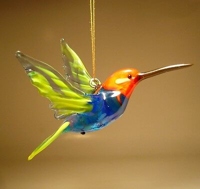 Blown Glass Figurine Bird Hanging Blue, Yellow & Red Head HUMMINGBIRD Ornament