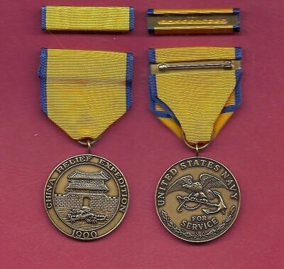 Navy China Relief Expedition medal with ribbon bar 1900