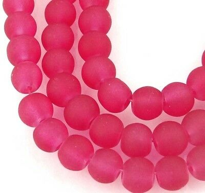 50 Czech Frosted Sea Glass Round / Rocaille Beads Matte Crimson / Raspberry 6mm