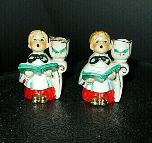 2~VINTAGE 1950 CHRISTMAS JAPAN CHOIR BOY CANDLE HOLDERS W/24K GOLD ACCENT