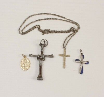 3 Crosses 1 Made of Nails 1 Medal with One Chain in Mixed Metals