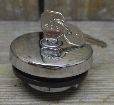 FORD CAR PICKUP TRUCK LOCKING CHROME GAS CAP W KEYS HOT ROD CUSTOM RAT FUEL TANK
