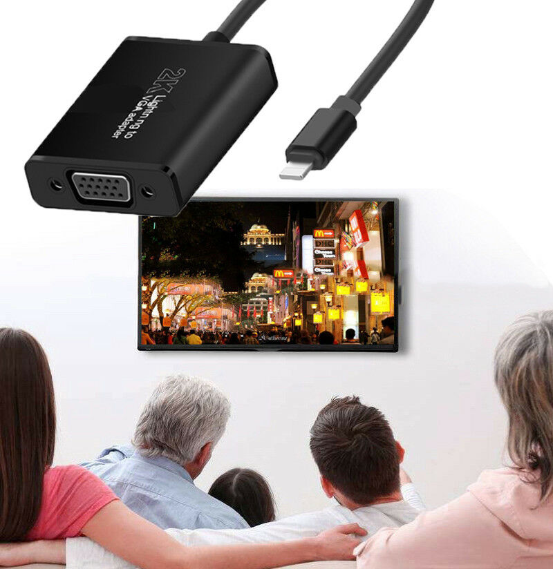 2K iOS VGA Audio Video Adapter For iPhone XS MAX XR 5 6 7 8