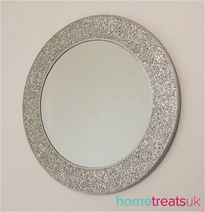 Round Silver Mosaic Sparkle Wall Mirror. High Shine Crackle Effect 40 x40cm