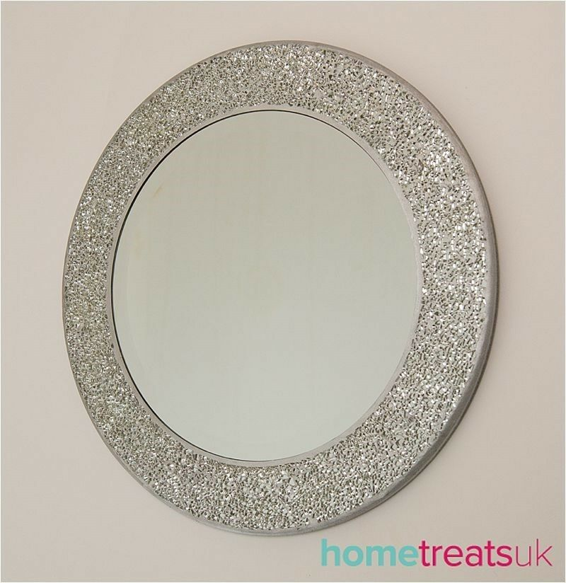 Round crackle wall mirror handmade broken glass mosaic for Round silver wall mirror