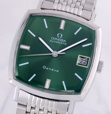 VINTAGE OMEGA GENEVE AUTO CAL565 DATE GREEN DIAL MEN