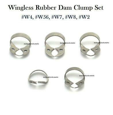 5pcs Dental Rubber Dam Clamps Wingless Endodontic Clamp Surgical Instruments