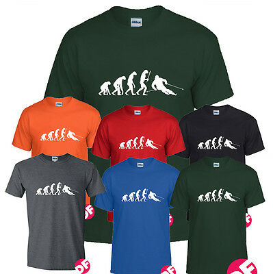 Evolution of Fast Skier Tshirt Slalom GS Ski Cross Racer Train Holiday all size ()