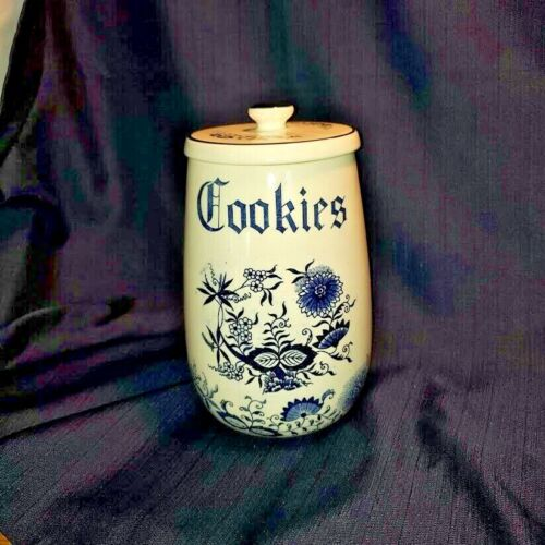 Vintage Blue Danube Blue Onion Cookie Canister with lid
