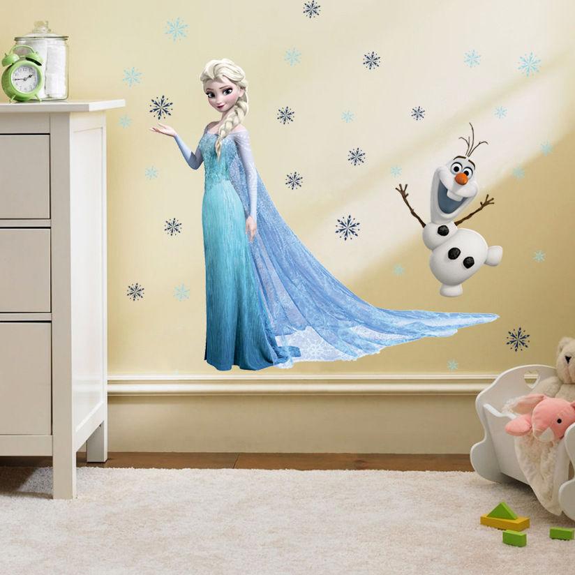 Disney Anna Elsa Princess For Frozen Wall Sticker Removable Kids Room Home Decor