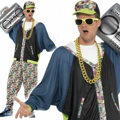 Adult 80s Hip Hop Costume Rapper Fancy Dress Mens Vanilla Ice MC Hammer Outfit