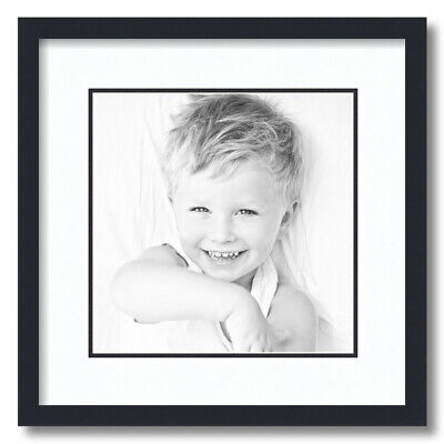 ArtToFrames Matted 16x16 Black Picture Frame with 2