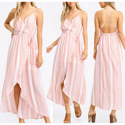 NEW Pink Ivory Stripe Surplice V Neck Backless High Low Midi Summer Wrap Dress ()