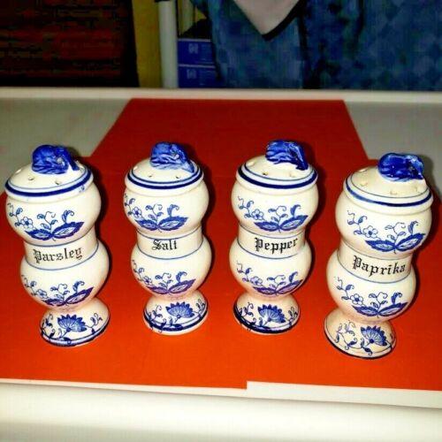 "4 Assorted used Vintage Blue Onion Pattern Spice Jars Measuring 4 1/4"" Tall"