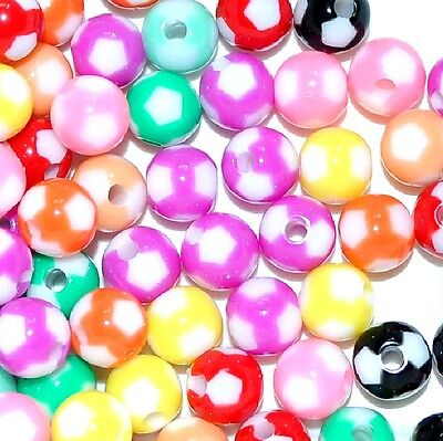 acrylic football beads, round, 8 mm and 12 mm, option for colours (Football Beads)