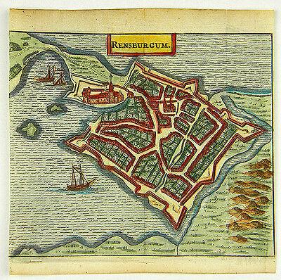 RENDSBURG DEUTSCHLAND KOL KUPFERSTICH ANSICHT ZEILLER MERIAN 1656 #D863S