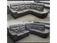 Brown 2 piece leather corner sofa can be delivered