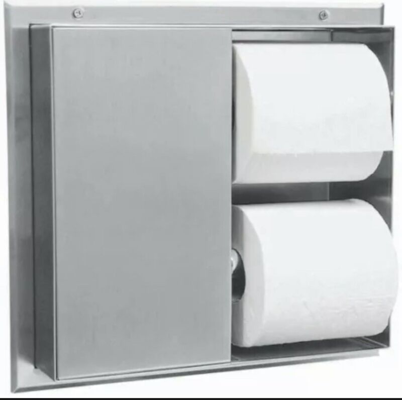 Bobrick Partition-Mounted Toilet Tissue Dispenser with 2 Toilet Compartments