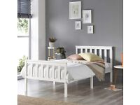 Aspire Beds Atlantic Solid Wood White Shaker Bed Frame (Single (90 x 190 cm) selling at £40
