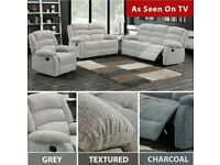 STONE GREY GRAYSON FABRIC RECLINER 3 2 & 1 SEATER SOFA |0 % FINANCE WEEKLY PAYMENT OPTION AVAILABLE