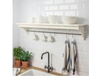 IKEA Torviken white Wall Shelf with hooks - Assembled and Never used