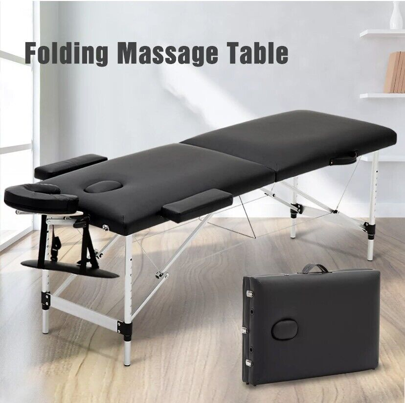 Portable Folding Massage Table Bed Lightweight Beauty Salon Therapy Couch Black