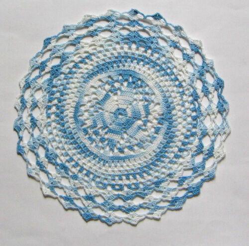 "New Hand Crocheted Ocean Breeze Doily Vari White Blue 11"" Round Handmade US"