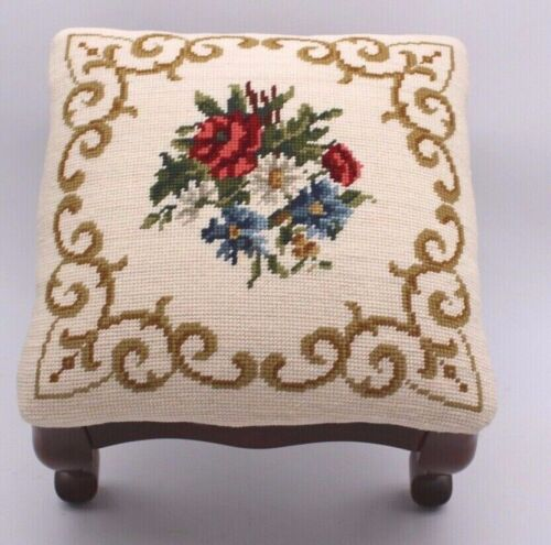 Vtg Needlepoint French Victorian Roses Foot Stool Rest Antique Tapestry Ottoman