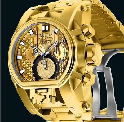 Invicta Reserve 18k Gold Plated Bolt Zeus Magnum Dual Swiss Movement Watch