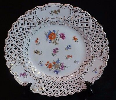 """ANTIQUE MEISSEN DRESDEN STYLE LARGE RETICULATED  PLATE 11"""""""
