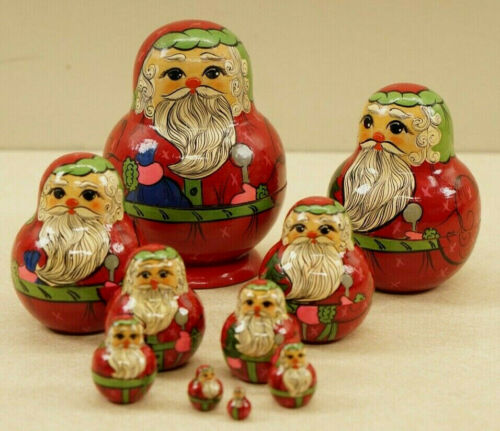 Russian Matryoshka Santa Nesting 10 Pc. Doll Set Hand Painted Christmas