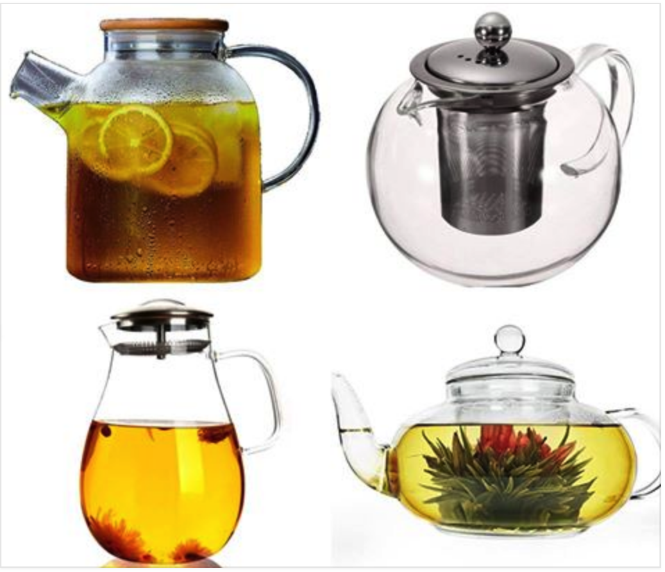 Glass Water Pitcher Tea Kettle with Strainer and Lid for Loo
