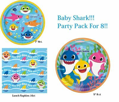 Shark Plates And Napkins (Baby Shark Birthday Tableware Combo for 8 Guests Party Pack (Plates and)
