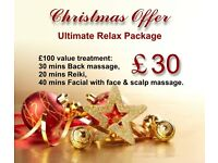 Christmas Gift Voucher - £30 - Back Massage/ Reiki/ Facial Relax Package
