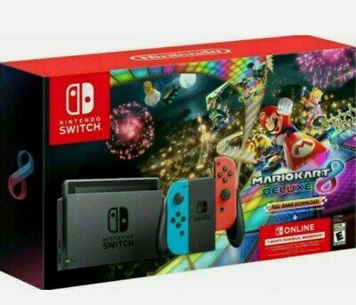 🔥Nintendo Switch Console Mario Kart 8 Deluxe Bundle w/ Neon Blue/Red Joy-Con🔥
