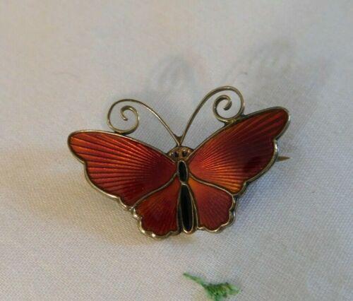 Vintage David Andersen D-A Norway Sterling Red Enamel Butterfly Pin