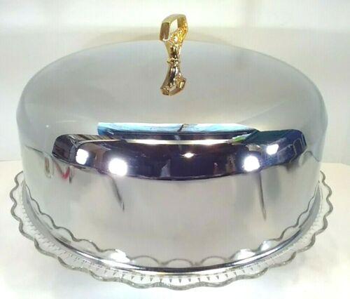 Vintage Kromex stainless steel pie dessert cake cover tri foot glass cake plate