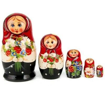 "Russian Nesting Dolls w/ Strawberry Matryoshka Hand Painted in Russia 4.3"" 5 pcs"