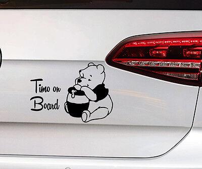 Teddy Bär Sticker Baby on Board Aufkleber Kids Kinder Wunschname Premium Folie