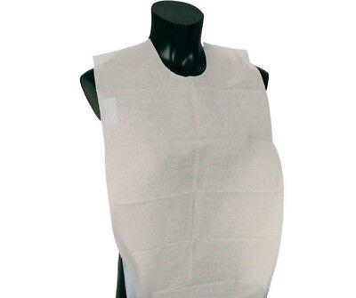 Lot Of 150 Disposable Adult Lap Bibs Paper Slipover Apron White Free Sh