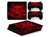 Red Skull Sony PS4 Games Console Vinyl Cover + 2 PS4 Controller Covers - Brand New & Sealed