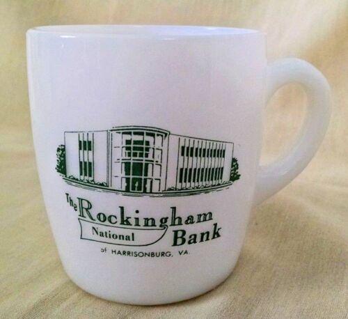 ROCKINGHAM NATIONAL BANK MUG HARRISONBURG VA WHITE MILK GLASS C-27 COFFEE CUP.
