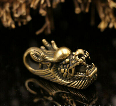 Solid Brass Dragon Head Key Chain Key Ring Pendant Wallet Leather Carft Ornament